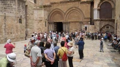 "Courtyard of the Church of the Holy Sepulchre - ""the holiest site in Christendom"" image. Click for full size."