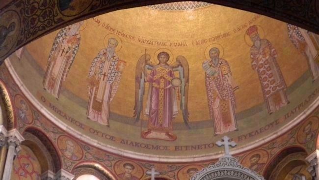 "Images on the ""Rotunda of the Anastasis"" (i.e. the Resurrection), the dome above the Holy Sepulchre image. Click for full size."