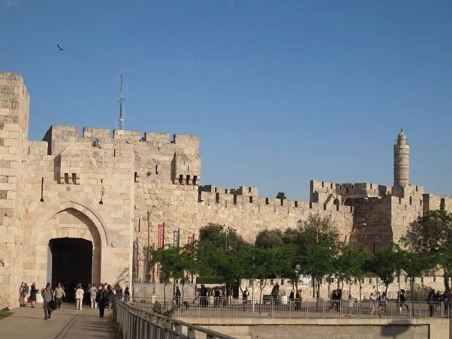 "Jaffa Gate and the Old City's medieval walls with the Citadel (the ""Tower of David"") at right image. Click for full size."