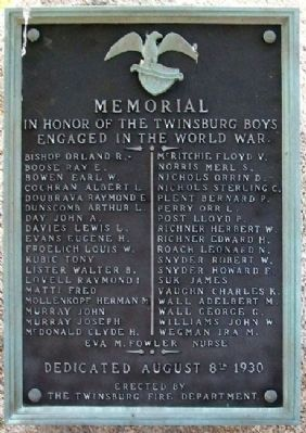 Twinsburg World War Memorial Marker image. Click for full size.