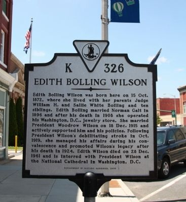 Edith Bolling Wilson Marker image. Click for full size.
