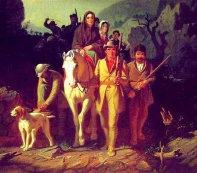 Daniel Boone Escorting Settlers through the Cumberland Gap image. Click for full size.