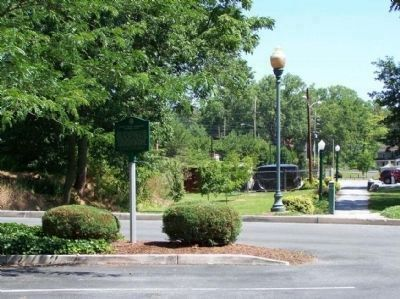 Great Indian Warrior/Trading Path Marker, looking north, into Hagerstown City Park image. Click for full size.