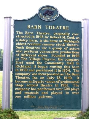 Barn Theatre Marker image. Click for full size.