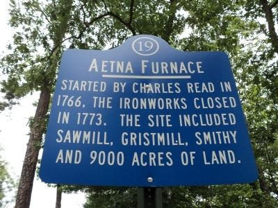 Aetna Furnace Marker image. Click for full size.