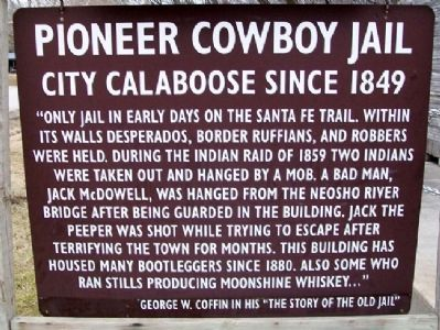Pioneer Cowboy Jail Marker image. Click for full size.