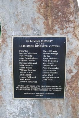 The 1948 Donora Smog Victims plaque image. Click for full size.