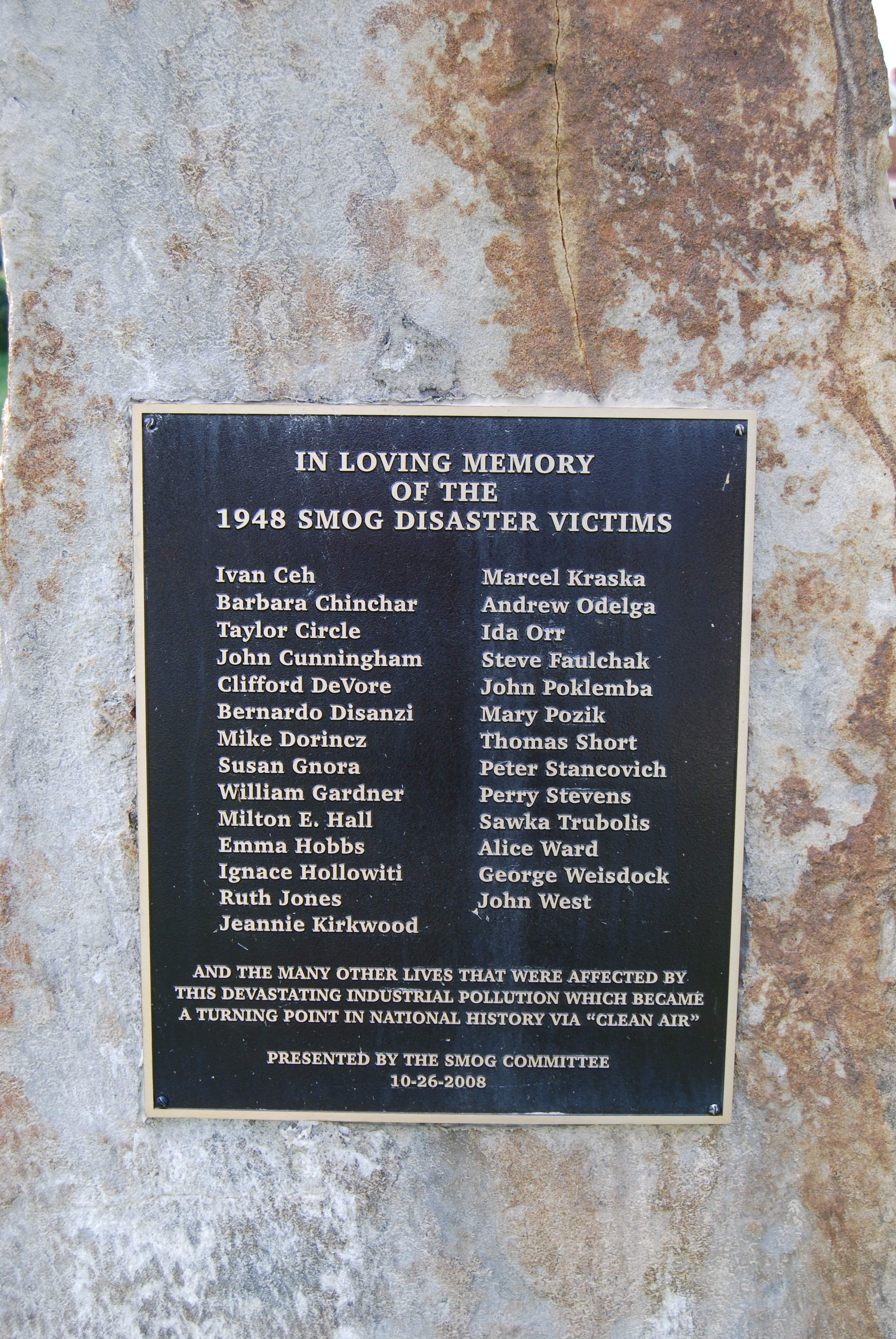 The 1948 Donora Smog Victims plaque