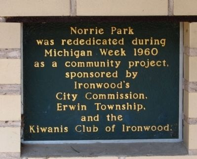 Norrie Park Marker Small sign to right. image. Click for full size.
