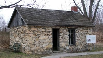 Reconstructed Kaw House and Marker image. Click for full size.