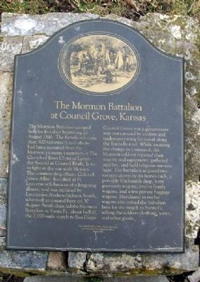 The Mormon Battalion at Council Grove, Kansas Marker image. Click for full size.