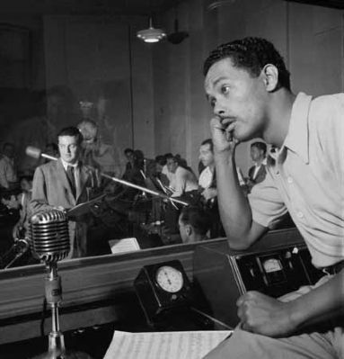 Billy Eckstine in the recording studio image. Click for full size.