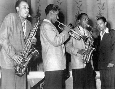 Billy Eckstine's band in Pittsburgh in 1944 image. Click for full size.
