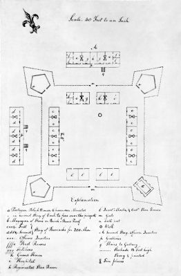 Plan of Fort Fayette with detailed listing of buildings image. Click for full size.