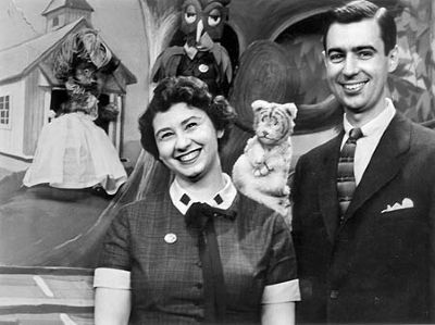 Screenshot of Fred Rogers and Josie Carey on The Children's Corner image. Click for full size.