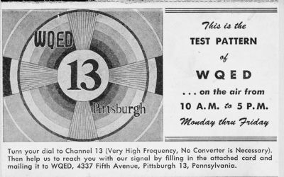 WQED test pattern postcard image. Click for full size.