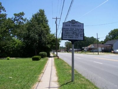 Dred Wimberly Marker, looking east along North Raleigh Street, US 64 image. Click for full size.