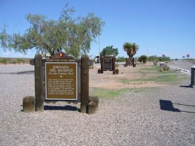 View north of three Historical Markers at this rest area image. Click for full size.