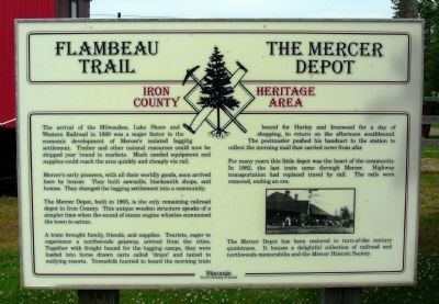 Flambeau Trail – The Mercer Depot Marker image. Click for full size.