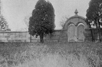 This wall and a pivoting stone gate define the perimeter of the Harmonist Society's cemetery image. Click for full size.