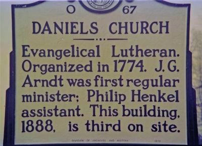 Daniels Church Marker image. Click for full size.