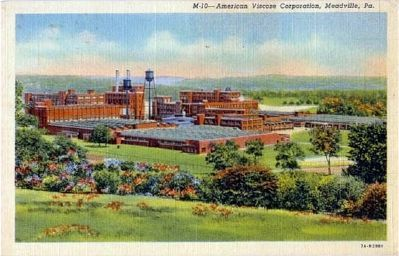 Postcard of the American Viscose Corporation rayon plant in Meadville image. Click for full size.