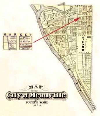 Map of Meadville, PA, showing the residence of Richard Henderson in 1875 image. Click for full size.