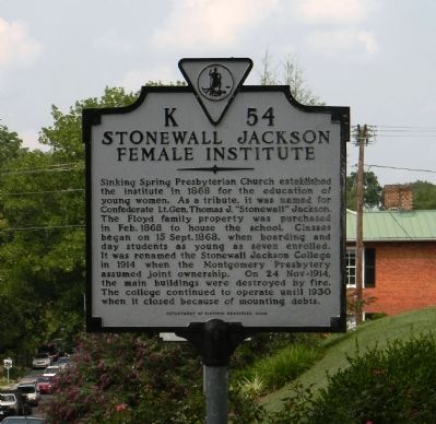 Stonewall Jackson Female Institute Marker image. Click for full size.