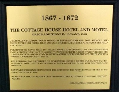 The Cottage House Hotel and Motel Marker image. Click for full size.
