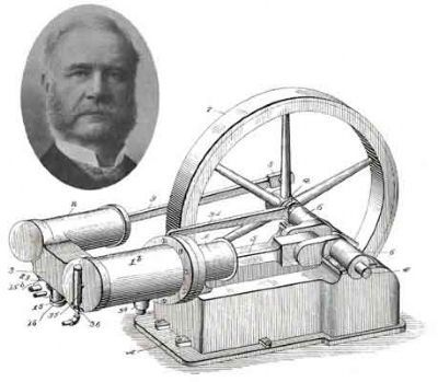An inset portrait of Joseph Reid and a larger etching of his single piston engine image. Click for full size.