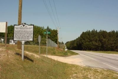 Quattlebaum Sawmill, Flour Mill, and Rifle Factory Marker, looking north along Fairview Road image. Click for full size.