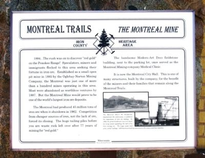 Montreal Trails – The Montreal Mine Marker image. Click for full size.