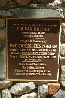 Colfax Record Marker image. Click for full size.