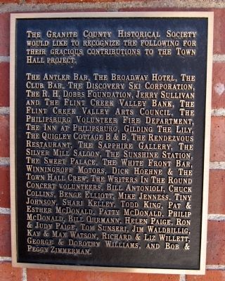 Granite County Historical Society Plaque image. Click for full size.