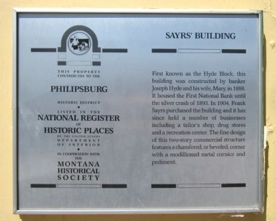 Sayrs' Building Marker image. Click for full size.