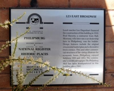 123 East Broadway Marker image. Click for full size.