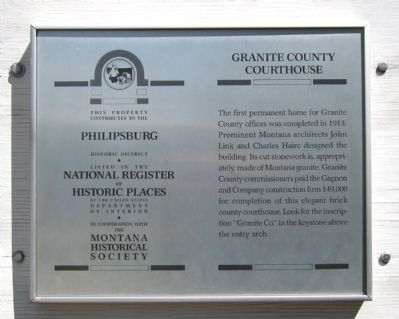 Granite County Courthouse Marker image. Click for full size.