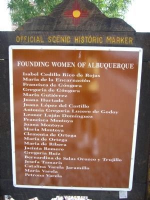 Founding Women of Albuquerque - Back of Marker image. Click for full size.