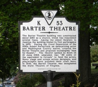 Barter Theatre Marker image. Click for full size.