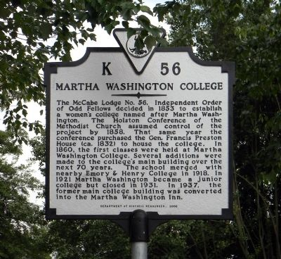 Martha Washington College Marker image. Click for full size.