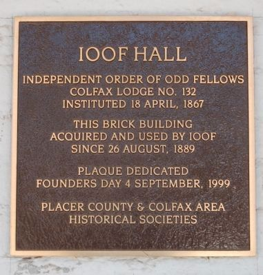 IOOF Hall Marker image. Click for full size.