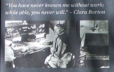 Clara Barton at her desk image. Click for full size.
