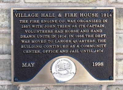 Village Hall & Fire House 1914 Marker image. Click for full size.