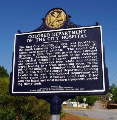 Colored Department of the City Hospital Marker image. Click for full size.