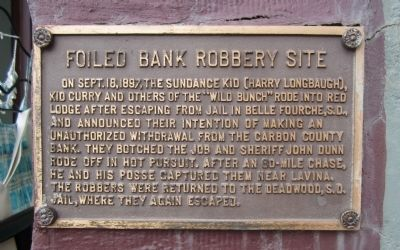 Foiled Bank Robbery Site Marker image. Click for full size.