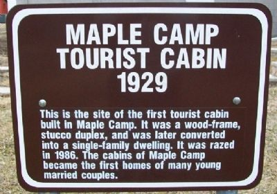 Maple Camp Tourist Cabin Marker image. Click for full size.