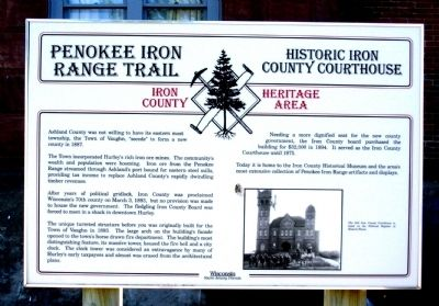 Penokee Iron Range Trail – Historic Iron County Courthouse Marker image. Click for full size.