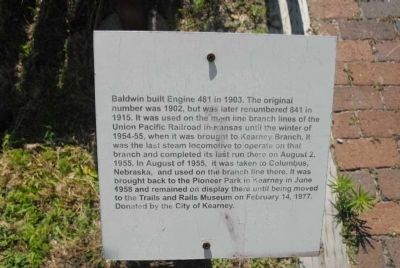 Baldwin Engine 481 Marker image. Click for full size.