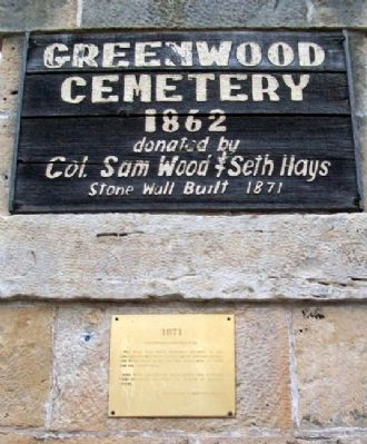 Greenwood Cemetery Wall Marker image. Click for full size.