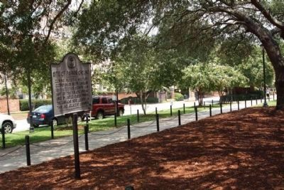 Site of Parade Ground Marker, seen looking east along Greene Street image. Click for full size.